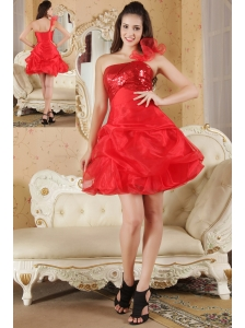 Red A-line One Shoulder Prom / Homecoming Dress Organza Sequin Mini-length