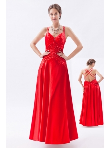 Red Column / Sheath Spaghetti Straps Prom Dress Taffeta Appliques Floor-length