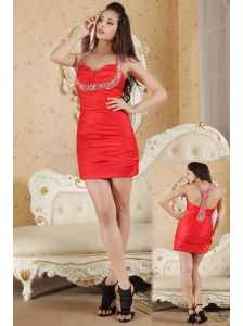 Red Column Halter Prom / Homecoming Dress Taffeta Beading Mini-length