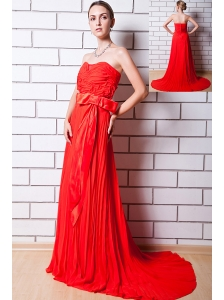 Red Column Strapless Prom Dress Chiffon Pleat Brush Train