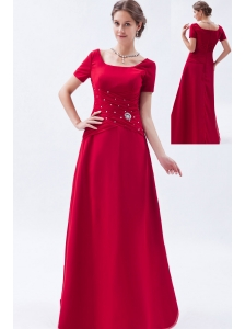 Wine Red Empire Scoop Prom Dress Satin Beading Floor-length
