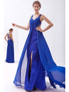 Royal Blue Empire Straps Prom Dress Chiffon Beading Floor-length