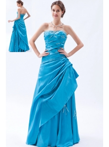 Teal A-line / Princess Strapless Prom Dress Taffeta Beading Floor-length