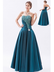 Peacock Green A-line / Princess Sweetheart Prom Dress Tafeta Beading Floor-length