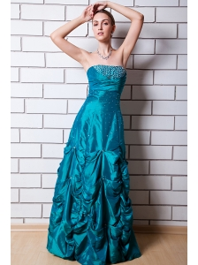 Teal A-line Strapless Prom Dress Taffeta Beading Floor-length