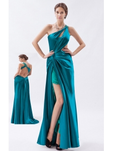 Teal Column / Sheath One Shoulder Prom Dress Elastic Woven Satin Beading and Ruch Floor-length
