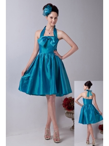 Teal Princess Halter Prom / Homecoming Dress  Taffeta Bowknot Knee-length
