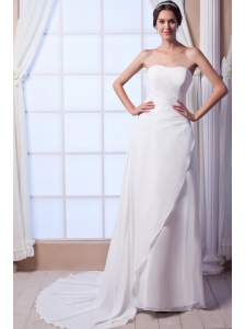 The Brand New Style Column / Sheath Strapless Court Train Chiffon Sequins Wedding Dress