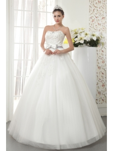The Super Hot A-line / Princess Strapless Floor-length Tulle Beading Wedding Dress