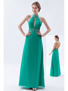 Turquoise Column / Sheath Prom Dress Backless Chiffon Beading High-neck