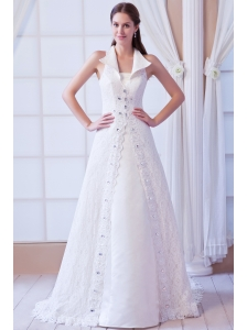 Affordable A-line Square Court Train Lace Beading Wedding Dress