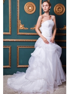 Beautiful A-line One Shoulder Court Train Organza Appliques Wedding Dress