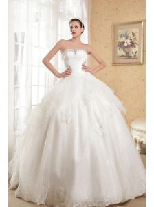 Beautiful A-line Strapless Chapel Tian Satin and Organza Appliques With Beading Wedding Dress