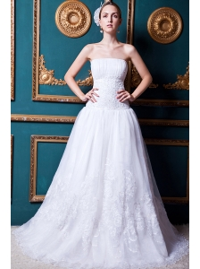 Beautiful A-line Strapless Court Train Organza Lace Wedding Dress
