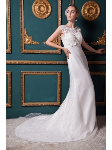 Beautiful Column Scoop Chapel Train Organza Lace Wedding Dress