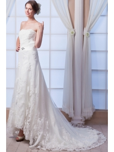 Elegant A-line Strapless Court Train Lace Beading Wedding Dress