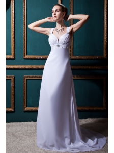 Fashionable Empire V-neck Brush Train Chiffon Beading Beach Wedding Dress
