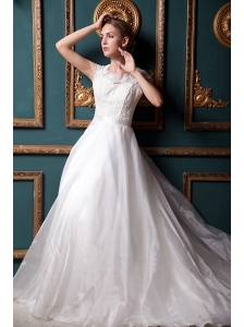 Formal A-line Square Chapel Train Organza Lace Wedding Dress