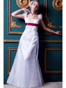 Formal Column Square Floor-length Taffeta and Organza Beading Wedding Dress
