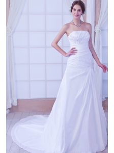 Gorgeous A-line Strapless Chapel Train Taffeta Beading Wedding Dress