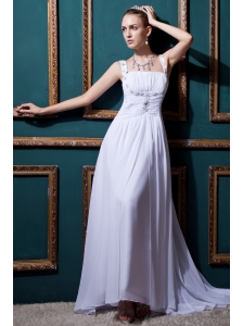 Informal Empire Straps Brush Train Chiffon Beading and Ruch Wedding Dress