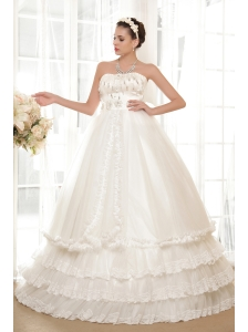 Luxurious A-line Strapless Floor-length Tulle and Taffeta Hand Made Flowers and Beading Wedding Dress