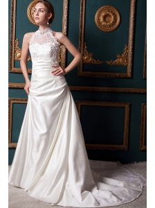 Modest A-line High-neck Chapel Train Taffeta Lace Wedding Dress
