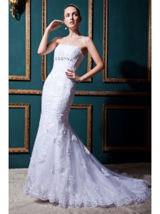 Modest Mermaid Strapless Brush Train Lace Beading Wedding Dress