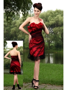 Red Column Strapless Prom / Homecoming Dress  Tulle Hand Made Flowers Mini-length