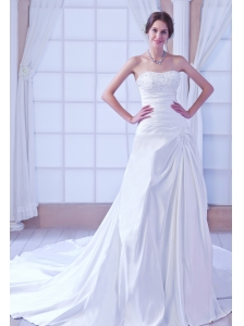 Romantic A-line Sweetheart Chapel Train Satin Beading Wedding Dress