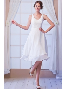 Simple A-line V-neck Knee-length Chiffon Wedding Dress