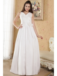 Simple Column V-neck Floor-length Taffeta Hand Made Flowers Wedding Dress
