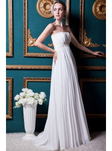 Simple Empire Strapless Brush Train Chiffon Beading and Pleat Wedding Dress