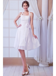 White A-line Halter Knee-length Chiffon Ruch Wedding Dress