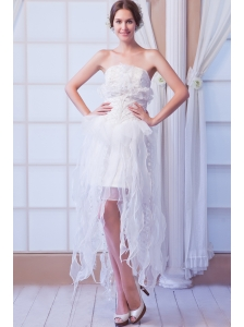White Column Strapless Asymmetrical Organza   Beading Weeding Dress