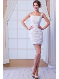 White Column Strapless Mini-length Chiffon Sequins Wedding Dress