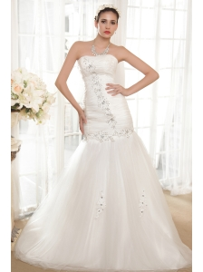 Wonderful A-line Strapless Chapel Train Taffeta and Organza Beading Wedding Dress