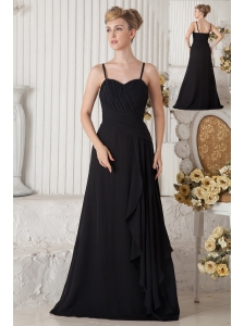Black Empire Straps Ruch Bridesmaid Dress Floor-length Chiffon