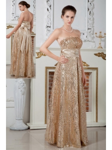 Champagne Evening Dress Empire Strapless Beading Sequin Floor-length