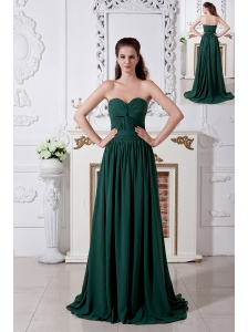 Dark Green Empire Sweetheart Ruch Bridesmaid Dress Brush Train Chiffon