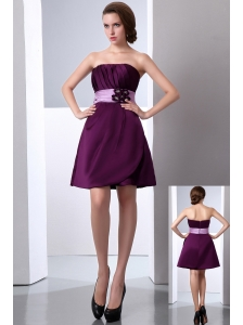 Dark Purple A-line Strapless Cocktail Dress Hand Made Flower and Ruch Mini-length Satin