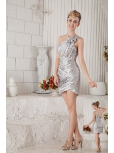 Silver Column One Shoulder Cocktail Dress Chiffon Ruch Mini-length