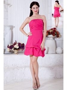 Hot Pink A-line Strapless Cocktail Dress Taffeta Ruch Mini-length
