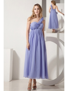 Lilac A-line One Shoulder Hand Made Flowers Bridesmaid Dress Ankle-length Chiffon