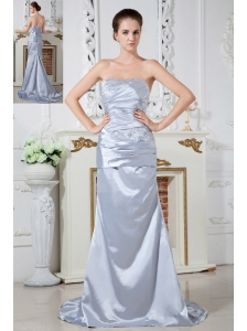 Lilac Evening Dress Column Strapless Beading and Ruch Brush Train Satin