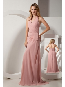 Light Pink Column Halter Ruch Bridesmaid Dress Brush Train Chiffon