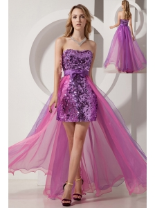 Purple and Pink High-low Evening Dress Column Strapless Sequin and Chiffon