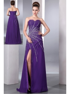 Purple Evening Dress Column Sweetheart Beading Chiffon Floor-length