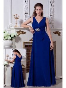 Royal Blue Empire V-neck Beading Bridesmaid Dress Floor-length Chiffon