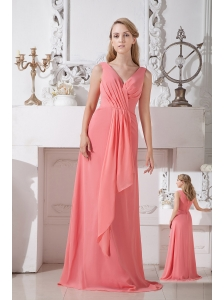 Watermelon Red Empire V-neck Ruch Bridesmaid Dress Chiffon Brush Train
